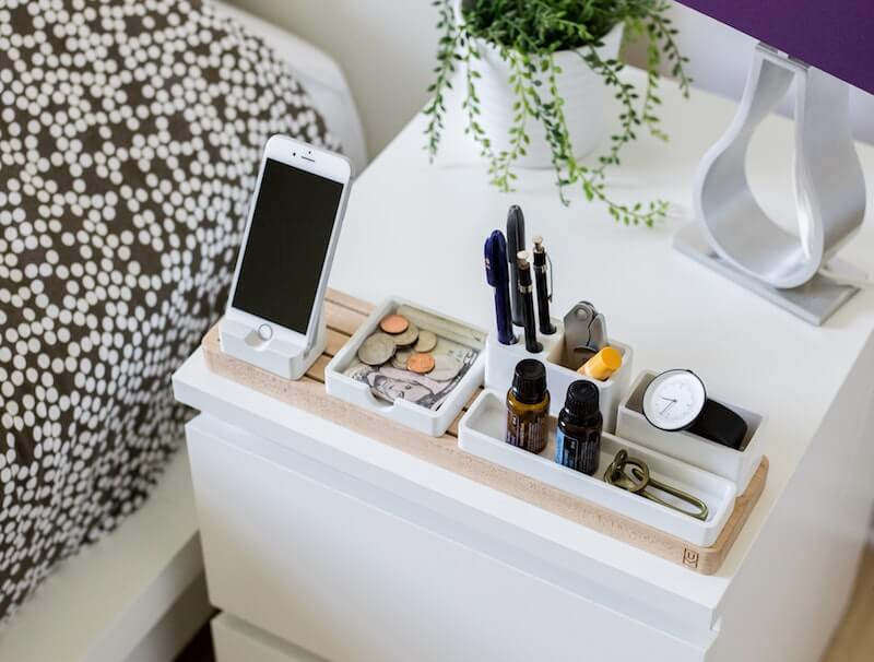 Smartphone on bedside table