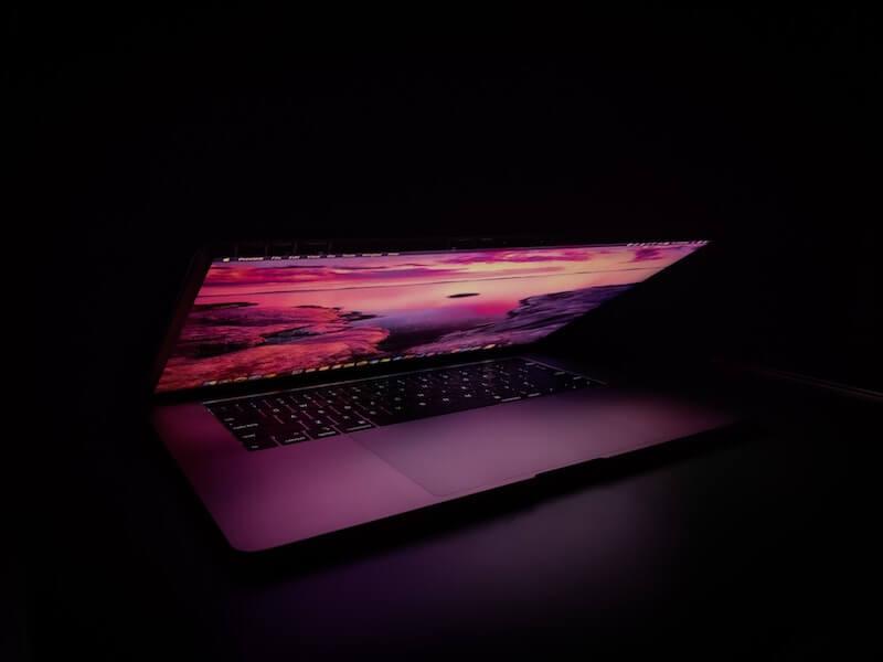 Glowing laptop screen